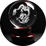 debous Crystal Ball with wood stand, 80mm 3 inch High Clear Quartz Crystal Ball with a 3D Inner Carving Dragon inside