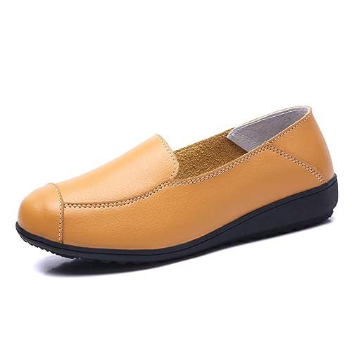 Daytwork Damas Piso Cuña Mocasines - Cuero Forro Ajuste Confort Penny Zapatillas Suave Slip-On Peso Ligero Trabajo Escuela Zapatos: Amazon.es: Zapatos y ...
