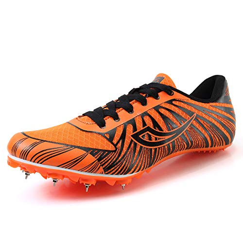 (Women's Men's Track and Field Sneaker Spikes Track Shoes Athletics Racing Distance Sprint Running High Jump Shoes for Youth, Teens, Kids, Boys and Girls Orange )
