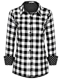 british blouse - Meaneor Women's British Style Classic Collar Long Sleeve Plaid Pattern Loose Fit Cotton Blouse Shirt Black M