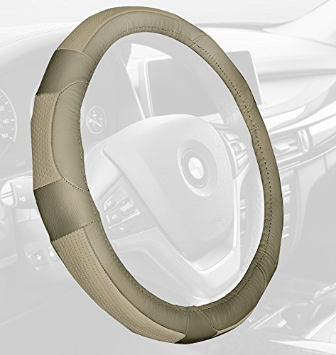 Leather Mercedes Benz Steering Wheel Cover (FH Group FH2002SOLIDBEIGE Steering Wheel Cover (Deluxe Full Grain Authentic Leather Solid Beige))
