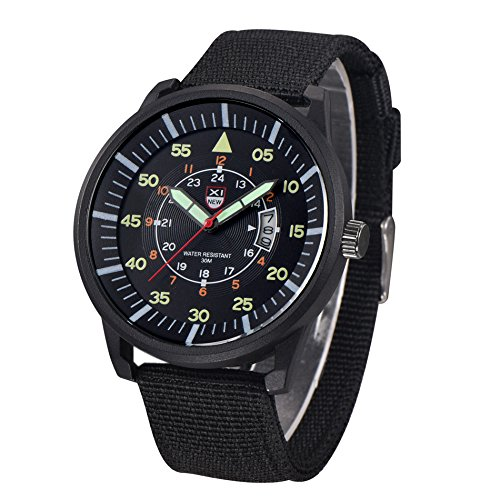 Mitiy Chronograph Watches Business Nylon Band Strap Wrist Watch with Date for Men