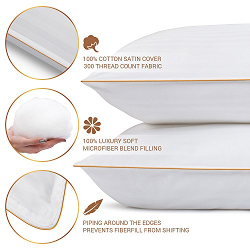 Queen Size Bed Pillows for Sleeping - 20x30, 2-Pack - Mid Loft - Soft Fiber Fill - Hypoallergenic - Stripe Cotton Covers - Best Alternative to Feather and Down Bedding - Fit to Standard Pillowcases