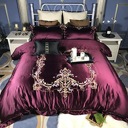 JLPAN European Style Fashionable Pattern Duvet Cover Set Satin Jacquard Silk Cotton Embroidered Egyptian Long-Staple Cotton Solid Color Lace Bedding Set,Purple,Queen