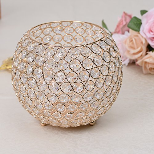 VINCIGANT Gold Valentines Day Candle Sleeve Holder / Floor Vase for Fireplace Dinning Table Centerpieces Home Decoration,8 Inches Diameter