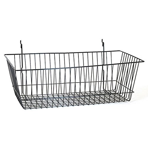 Case of 8 New Retails Black Slatwall Wire Basket 24''w x 12''d x 8''h