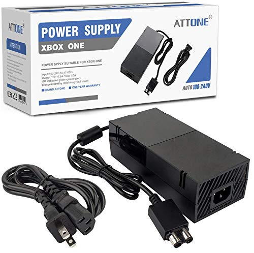 - Xbox One Power Supply Brick,ATTONE AC Adapter Cable Replacement Kit for Xbox One Console Games, Auto Voltage 100-240V, Black
