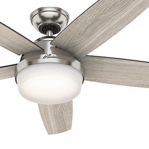 Hunter Denali 54 Brushed Nickel Shinebrite Ceiling Fan: Hunter Fan 54 In. LED Indoor Brushed Nickel Ceiling Fan