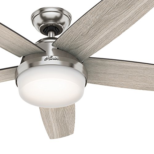 Hunter Fan 54 inch LED Indoor Brushed Nickel Ceiling Fan with Light and Remote Control (Renewed) ()