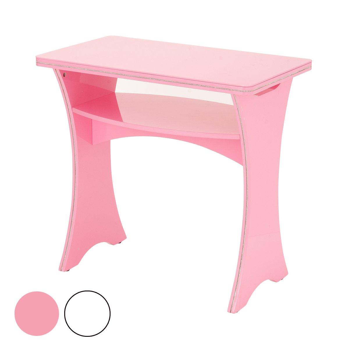 ストーン付 ガラステーブル 全2色 ピンク [ ネイルテーブル ネイルデスク スリムデスク パソコンデスク PCデスク 平机 作業台 ネイル デスク テーブル 机 ネイルサロン ジェルネイル セルフネイル ] B0754LK1YKピンク