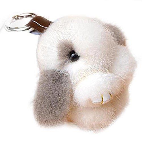 Manka Vesa Cute Mini Mink Fur Rabbit Doll Key Chain for Women Bag Charms Car Keyring Gray White