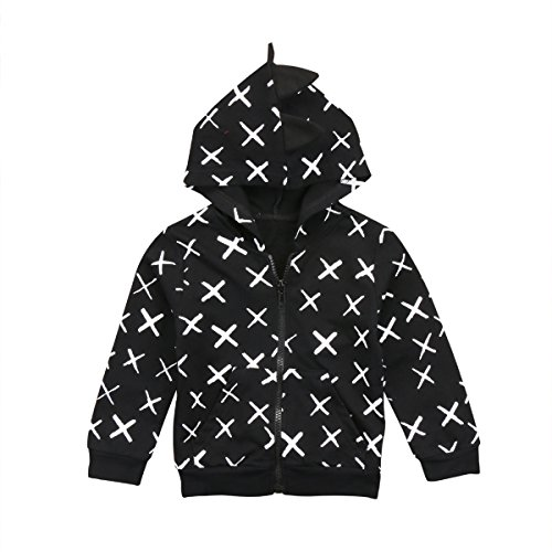 Charm Kingdom Baby Boys Long Sleeve Dinosaur Hoodies Toddler Zip-up Jacket Clothes (1T, Black Cross) Cross Kids Sweatshirt