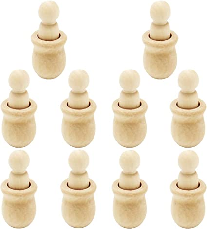 Healifty 10 Set Graffiti Peg Dolls Unfinished People Natural Wood Shapes Figure Decorative Doll Bodies for DIY Arts and Crafts