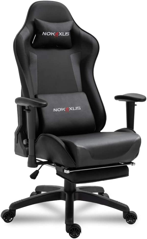 Nokaxus Office Chair Computer Gaming Chair with Massage Lumbar Support and Retractible Footrest PU Leather 90-180 Degree Adjustment of Backrest (YK-6008-BLACK22)