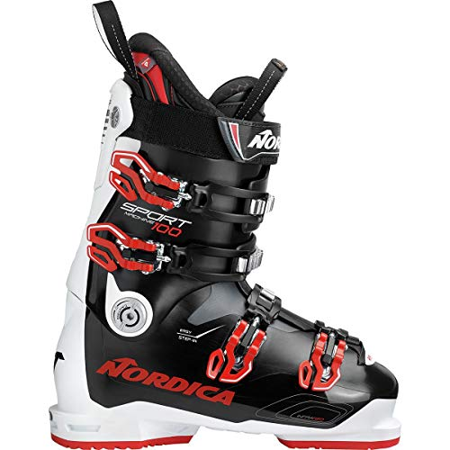 Nordica All Mountain Ski Boots - Nordica Sportmachine 100 Ski Boot - Men's Black/White/Red, 29.5