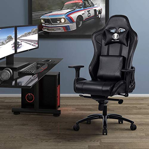 KILLABEE Big and Tall Gaming Chair with Metal Base - Ergonomic Leather Racing Computer Chair High-Back Office Desk Chair with Adjustable Memory Foam Lumbar Support and Headrest, Black by KILLABEE (Image #6)