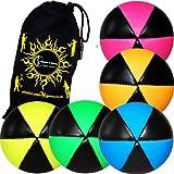 Flames N Games ASTRIX UV Thud Juggling Balls set of 5 (Mix Colours) Pro 6 Panel Leather Juggling Ball Set & Travel Bag!