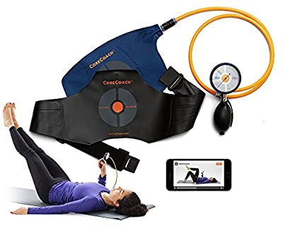PRESSURE BIOFEEDBACK CORE STABILIZER core strength and stability trainer. Easy-read gauge and durable nylon air pillow. Free Video Training + instruction manual, carry bag and mobile training app.