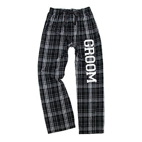 Classy Bride Mens Groom Flannel Pajama Pants - Black and White (L) by Classy Bride
