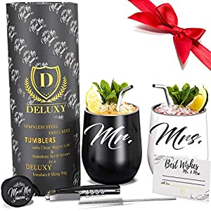 Best Epic Trends 51D%2Bow-me0L._SS300_ DELUXY Mr and Mrs Wine Tumblers I Perfect Engagement Gifts For Couples, Bridal Shower Gifts For Bride, Wedding Gifts For…