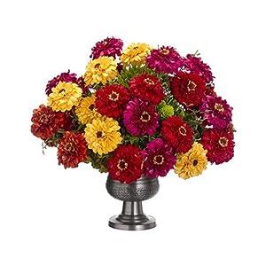 "23"" Hx28 W Zinnia, Sedum & Hydrangea Silk Flower Arrangement -Red/Green 110"