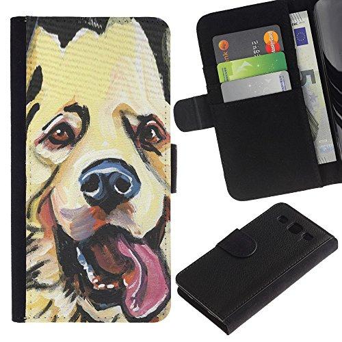 EuroCase - Samsung Galaxy S3 III I9300 - golden retriever labrador art drawing dog - Cuero PU Delgado caso cubierta Shell Armor Funda Case Cover