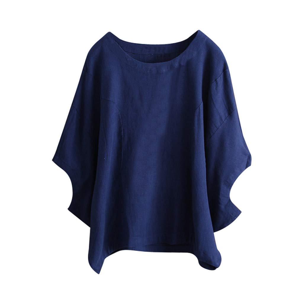 iLOOSKR Vintage Womens Shirt Solid Color Irregular Short Sleeve T-Shirt Blouse