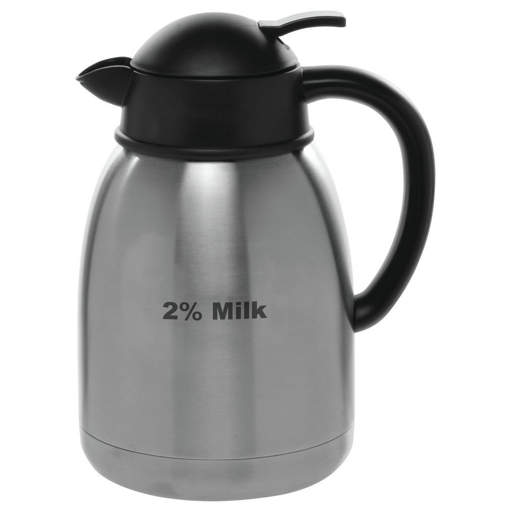HUBERT Stainless Steel Creamer Carafe With 2% Milk Imprint, 1.5 Liter