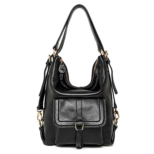 andle Leather Shoulder Bag Convertible Backpack with Front Flap (black) (Leather Front Flap)