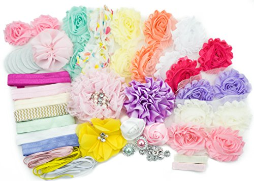 Baby Shower Games Party Supplies Station DIY Headband Kit by JLIKA - Make 20 Headbands and 2 Clips - DIY Hair Bow Kit - Pastel Collection (Small (Diy Bows)