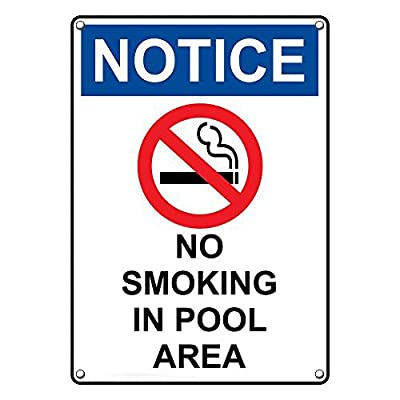 Weatherproof Plastic Vertical OSHA NOTICE No Smoking In Pool Area Sign with English Text and Symbol