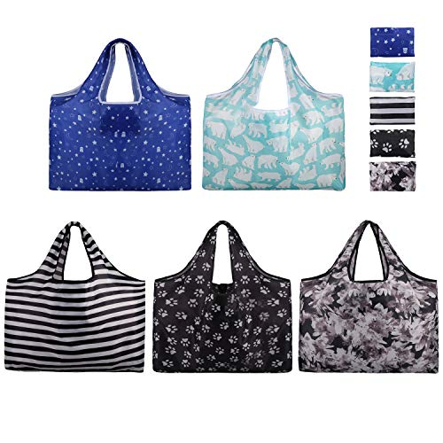 Foldable Reusable Grocery Bags-5 Packs XXL Folding Shopping Bag- Eco Friendly Ripstop Oxford Cloth Waterproof/Machine Washable Durable Heavy Grocery Shopping Tote Bags