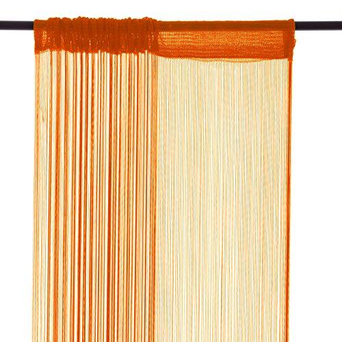 Smartfox Fadenvorhang, 140 x 250 cm in Orange, Fadengardine Fadenstore Vorhang Schal Faden