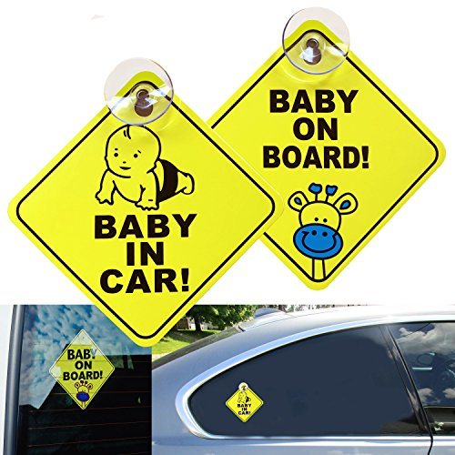 KSANA Baby on Board Removable Car Sign New Upgrade Car Safety Warning Stickers 2pcs