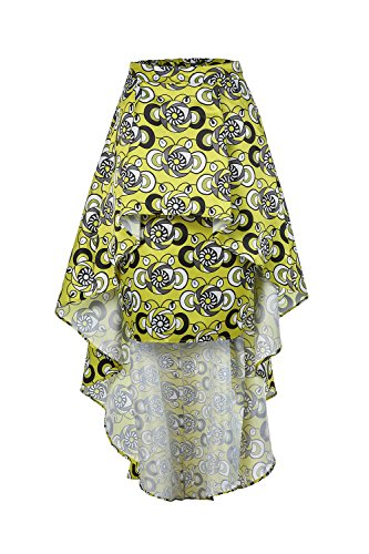 33eb5ccebea1a9 Liyuandian Womens African Print High Waisted Skirts Dashiki High Low  Asymmetrical Long Maxi Skirt Yellow