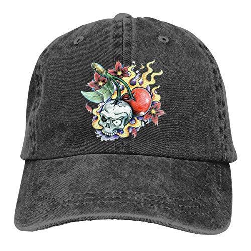Unisex Skull Cherry Retro Cotton Adjustable Baseball Cap Cowboy Hat ()