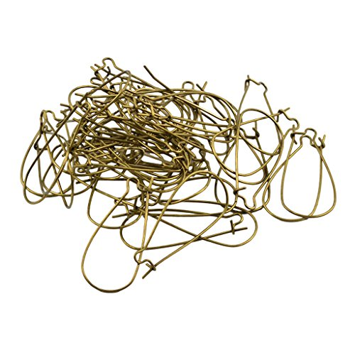 MagiDeal 100 Piece Earring Ear Hooks Ear Wire Findings Kidney Earwire Earring Findings - Bronze