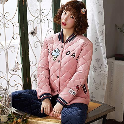 Lindo De Cómodo Servicio A Acolchado Capas Domicilio Qzhe Invierno El Y Pijamas Cálido Calientes Para Mujer Pijama Traje Tres X6xaHpPqw