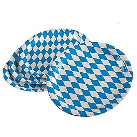 """200 Pappteller rund Ø 23 cm /""""Bayrisch Blau/"""" Party Einwegteller Oktoberfest Wiesn"""