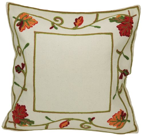Xia Home Fashions Harvest Vine Crewel Embroidered Harvest Fall Decorative Pillow Cover, 16 by 16-Inch (Pillows Crewel)