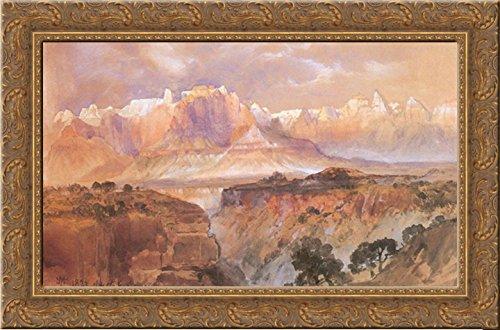 Cliffs of the Rio Virgin, South Utah 24x17 Gold Ornate Wood Framed Canvas Art by Moran, -
