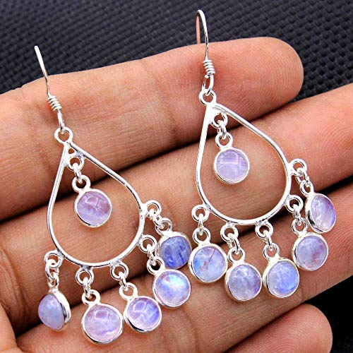 Valentine Special Earrings, Handmade Natural Rainbow Moonstone drop & Dangle Earrings 925 Sterling Silver Earrings Jewelry, 2 Inches Long, Weight 6.46 Grams