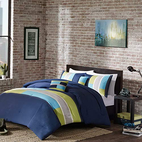 - Kaputar Modern Blue Green Navy Beige Teal Aqua Stripe Sporty Boys Comforter Set Pillow   Model CMFRTRSTS - 2891   Queen