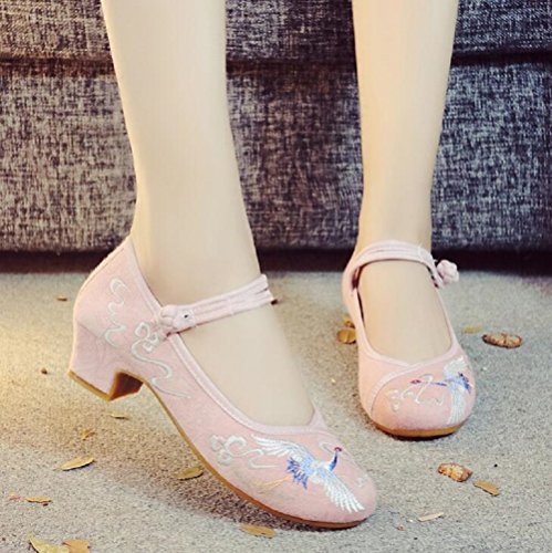 Lazutom Womens Chinese Style Embroidery Heel Sandals Dancing Party Dress Cheongsam Shoes Pink 167SKazHHZ