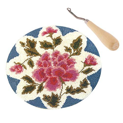 (SM SunniMix Latch Hook Craft Kits for Girls Making Rose Flower Rug + Wooden Crochet Hook)