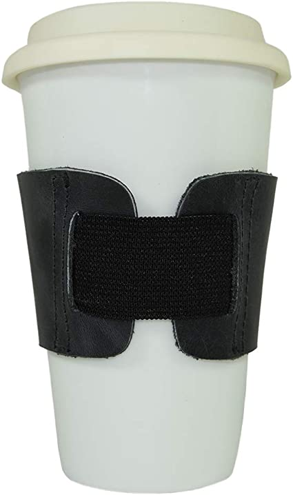 Hand Protector /& Drink Grip for Paper Cups Handmade by Hide /& Drink Insulator Charcoal Black Rustic Leather Reusable Coffee /& Tea Grip Sleeve