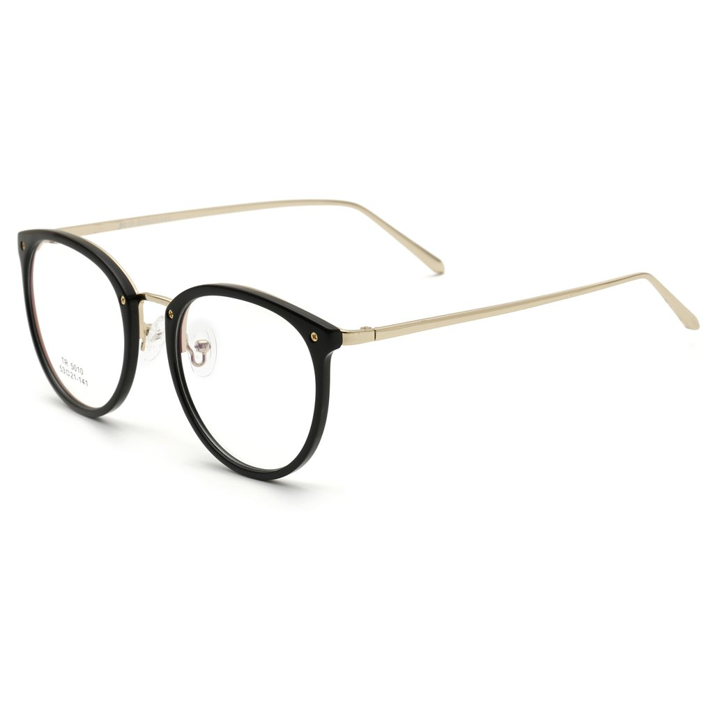 Egal Fashion Anti-Radiation Glasses Glasses Frame Women TR90 Diopter Computer Glasses Men Gold Round Frame