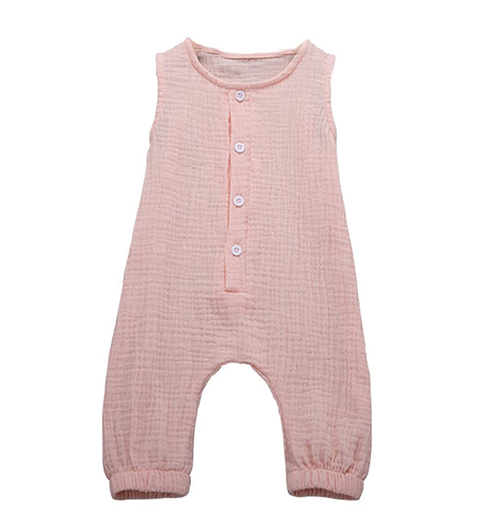 QueenDress Baby Cotton Linen Rompers Soft One Piece Jumpsuit Summer Toddler Button Bodysuit