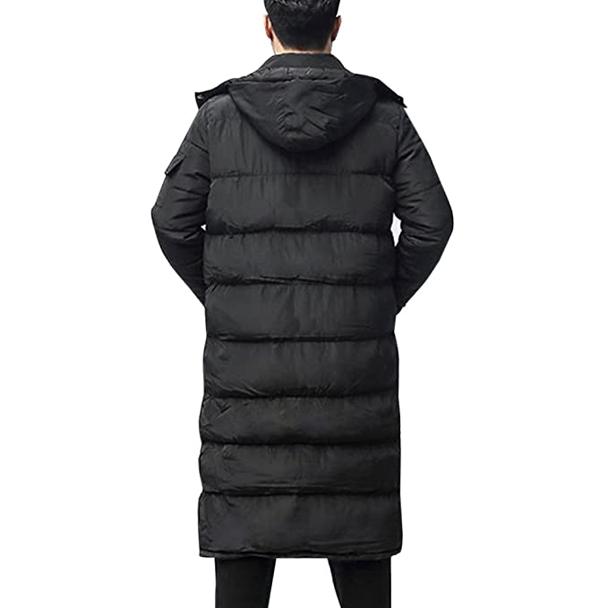4d6ca930f YOUTHUP Mens Knee-Length Parka Quilted Winter Coat with Hood: Amazon ...