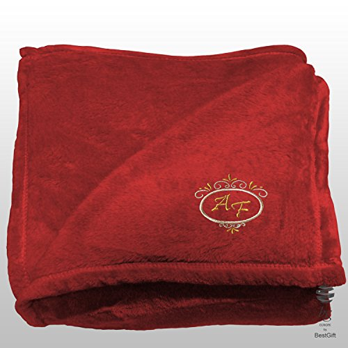 BgEurope Deluxe Personalized Multi-USE Polar Sofa Bed Travel Fleece Blanket - REF. DULCELINA - RED